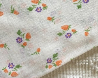Vintage 1940's Strawberries on White Pillowcase or Fabric UNUSED