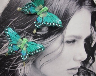 2- GREEN  EMERALD Feathers  Butterflies Hair Clips for weddings
