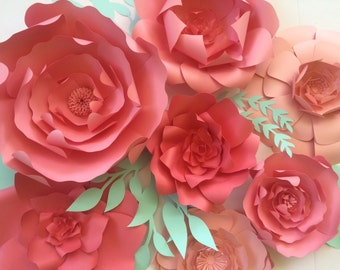Paper flower backdrop, Ready To Ship coral large paper flower backdrop, giant paper flowers, paper flower wall, paper flower decor