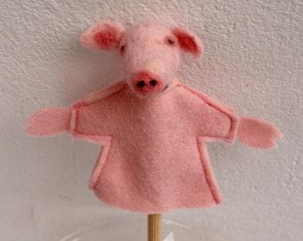 The pig, handfelted handmade finger puppet