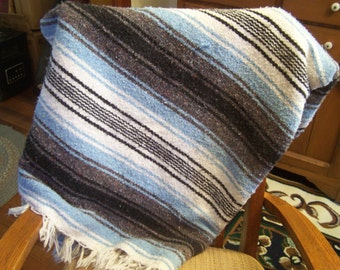 Vintage Mexican Fringed Blanket, Striped Cotton Blanket, Couch Throw
