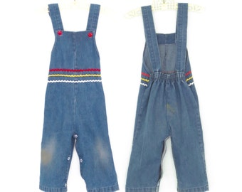 Vintage Toddler Overalls * Bib Overall Pants * Denim Romper Play Suit * size 12 18 months