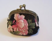 Oriental Print Coin Purse, Metal Frame Coin Purse, Pouch, Bags and Purses, Purse, Small Coin Purse, Accessories, Change Purse, Wallet