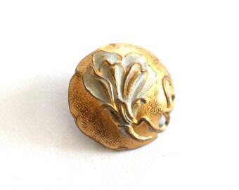 Antique Art Nouveau Brass Button
