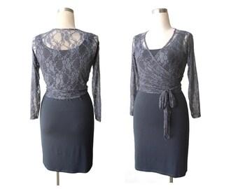 Lace Bolero, Grey shrug, Grey lace wrap top, Lace top, Long sleeve lace top, Grey bolero, Womens Shrugs & Boleros, Womens clothing