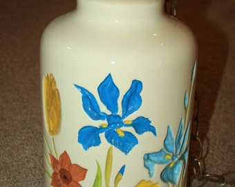Vtg Mid Century Retro Large Ceramic Swag Hanging Light Fixture Hand Painted