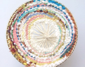 "handwoven wall hanging, 5"" round weaving"