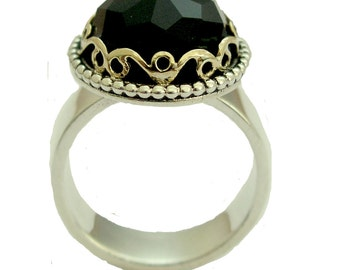 Black Onyx Ring, stone ring, sterling silver ring, gold ring, two tone ring, Victorian ring, engagement ring,The deepest jet black R1260