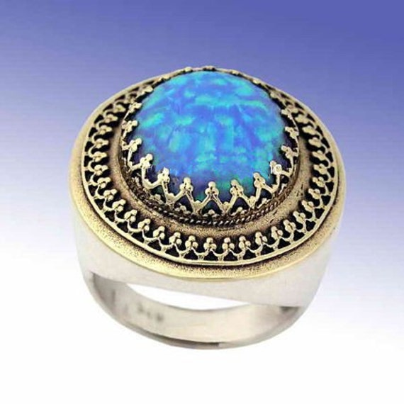 Gemstone ring, blue opal ring, sterling silver yellow gold ring, two tones ring, filigree ring, October stone - The King ring R1110EA