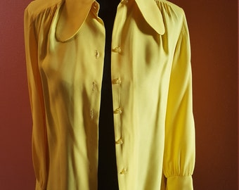 Vintage Canary Yellow 'Dog Ear' Collar Blouse/Shirt by Put On, California