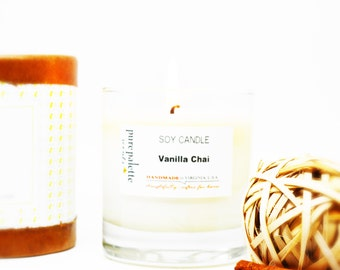 Vanilla Chai Scented Soy Candle in 11 oz. Glass Jar with Round Box