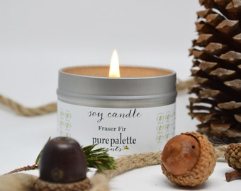 Fraser Fir Soy Candle / Travel Tin Candle / Christmas Winter Fir Candle / 4 oz. Scented Candle