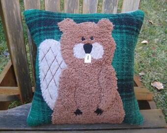 Beaver Pillow- Folk Art