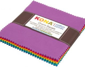Kona Cotton Solid Charm Squares by Robert Kaufman Fabric-New Bright Pallett