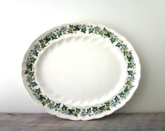Vintage Oval China Platter with Green Ivy Leaf Design Johnson Bros England Old Chelsea