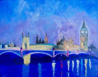 London England Night Painting Big Ben Modern Impressionist Original Oil Painting by Rebecca Croft