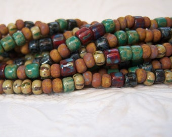 6/0 Czech aged Rustic Autumn Matte seed bead mix, striped Picasso tube beads, lot of (21)  inch strand-  VK225