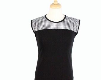 SALE!!Gingham Vintage Inspired Black Top