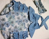 CLEARANCE, price reduced, Size 3-6 months bubble romper with matching top knot headband, photo prop