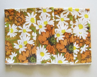 Set of 4 Vintage Floral Luncheon Dinner Cloth Napkins Daisies Poppies Autumn Colors Brown Orange Yellow Green