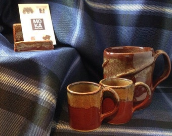 Stoneware Espresso Cup NEW Toasty Red Brown Glaze
