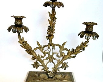 Tall 3 arm French Style Ornate Brass Candelabra on Marble Base//Vintage Home Decor//Brass Candle Holder//Table Decor