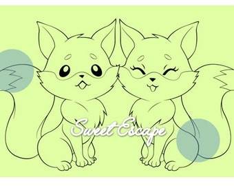 Cute Couple Foxes Digital Stamp