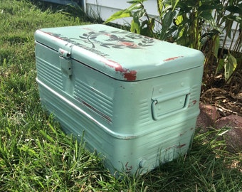 Painted Distressed Vintage Metal Cooler Aqua, Red, French Graphic