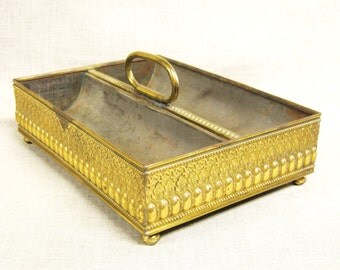 Vintage Tray Organization , Brass, Handle , Desk , Dresser , Planter , Storage , Metal , Decorative , Serving, Home Office, Kitchen