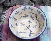 Blue dragonflies ceramic large bowl - ceramic vegetable bowl - entertaing - pottery serving bowl - tallpinespottery - df110412