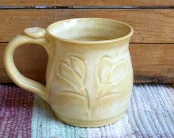 Rustic yellow handmade pottery mug - 11 oz mug - ceramic coffee mug - ceramic cup - pottery tea cup - yellow handmade mug - 05203