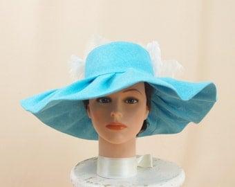 Aqua Blue Hat * Blue Floppy Hat * Wide Brim Hat * Blue and White Hat * Church Hat * Formal Hat * Derby Hat * Floral Hat * Fashion Hat