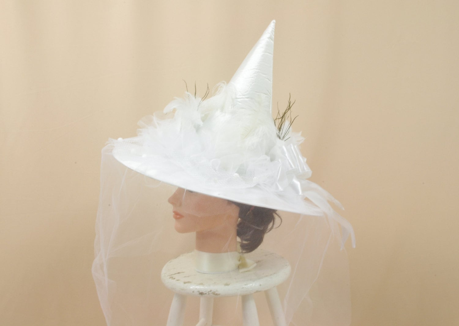 White Witch Hat Wedding Witch Hat by englishrosedesignsoh