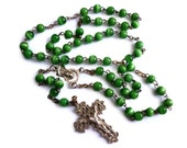 Vintage Long Rosary in Shimmery Tiger's Eye Green Metal Linked Beads w. Christ on a Cross and Mary Beaded Rosary Crucifix
