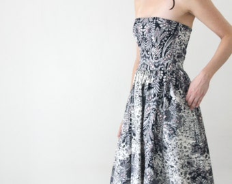 Strapless Printed Midi cocktail dress / Tea length evening dress
