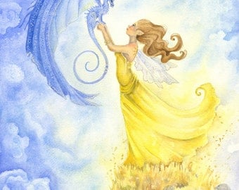 Summer Wind - Fairy Art Original Watercolor Painting - 11x14 - fantasy. whimsical. dragon. magical. fairy tale.