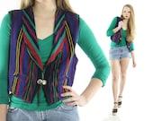 Vintage 80s Southwestern Vest Woven Cotton Indian Blanket Top Jacket 1980s Aztec Hippie Boho