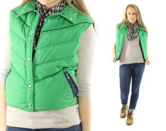 Vintage 80s WOOLRICH Down Vest Bright Green Puffer Ski Snowboarding Jacket 1970s Winter Coat Medium M