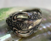 Vintage Art Nouveau Onieda Sterling Silver Spoon Ring, Roses & Scrolling, Size 7, 7 grams, Handcrafted
