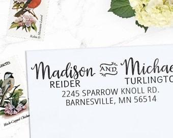 Return Address stamp, Custom Address Stamp, Calligraphy Stamp, Personalized Stamp, Self inking or Eco Mount, Wedding Stamp,  -  Madison