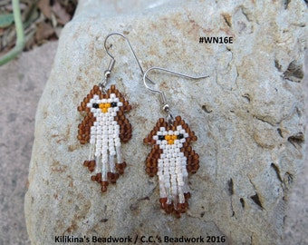 Native American Style Beaded Owl Earrings made by Kilikina