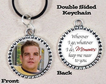 Memorial Keychain, Custom Photo Key Chain, In Loving Memory, Remembrance, In Memory Of, Double Sided Keychain