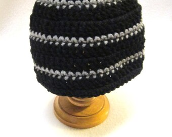 Black and Gray Striped Beanie Cap, Baby or Adult Striped Hat by Crocheted by Charlene MADE TO ORDER, Simple Winter Stocking Cap
