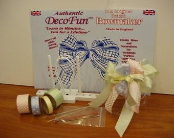 DecoFun Bow Maker PASTEL RIBBON Starter Kit- DIY beautiful, easy & quick beautiful ribbon bows in minutes.