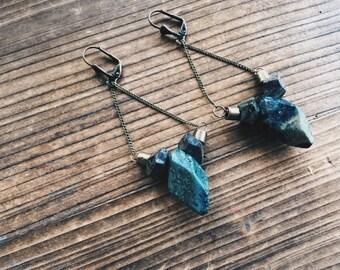 Dark Jasper Draped Brass Chain Drop Earrings Chain Jewelry Dragon Blood Southwestern Jasper Gemstone Earrings Handmade In Indiana