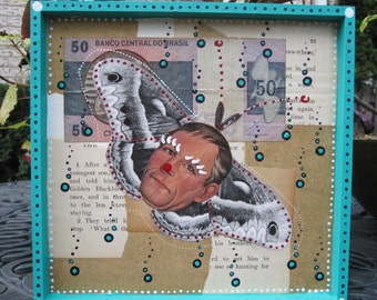 Mothman collage, mixed media art, recycled paper home decor
