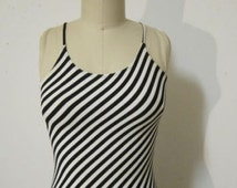 Vintage 90s Black White Stripe Spandex Maxi Dress Bodycon sexy fitted tight