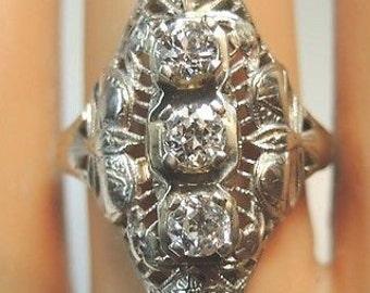 Antique Vintage Diamond White Gold Engagement Ring | RE: 521