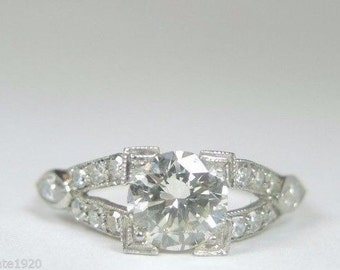 Antique Diamond Platinum Engagement Ring | RE-787