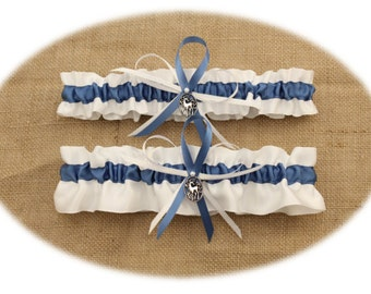 White and Slate Blue Wedding Garter Set with Unicorn Charms (Your Choice-Single or Set)